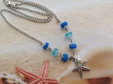 NAUTICAL BLUE SEAGLASS BEADED NECKLACE STARFISH PEARL CHARM BEACH JEWELLERY