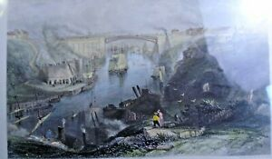Framed Print of an Engraving by W Finden, The Iron Bridge Sunderland