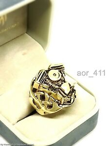 Harley V-TWIN Engine Brass/Stainless Ring Men/Women Sz8-12 Biker Handmade New