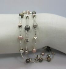 sterling silver 3 strand Beaded chain Tennis bracelet 925 toggle 7.5 Inche new
