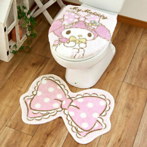 Sanrio My Melody Toilet Lid Cover Toilet Mat 2 Piece Set Ribbon Pink Japan New