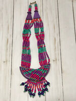 Retro Vintage Pink Purple Turquoise Wood Bead Tribal Boho Statement Bib Necklace