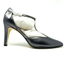 New Adrienne Vittadini Cecelia Pewter Leather T Strap Heels Sz 7.5M Pumps NIB
