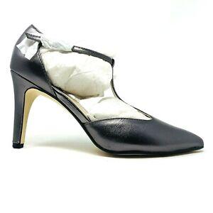 New Adrienne Vittadini Cecelia Pewter Leather T Strap Heels Sz 6M Pumps NIB