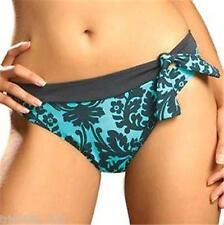 $50 Fantasie MILAN Blue Topaz Charcoal BIKINI Pant size 10 SMALL Tie Waistband
