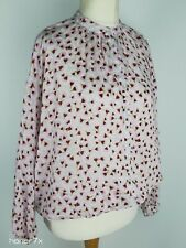 H&M Anna GLOVER Pink Lightweight Petals Print Oversize Blouse Size XS  S 6 8