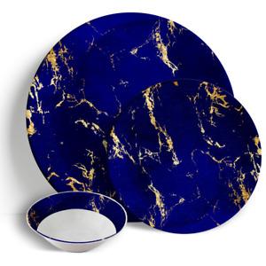 "Blue & Gold Marble - 18 Piece Dinner Set 10.5"" Plates 7.5"" Side Plates 7"" Bowls"