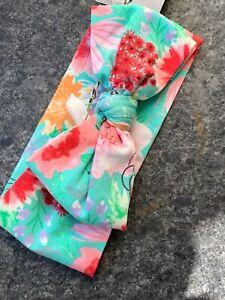 Matilda Jane Flower Headband Teal Blue Green Bow Pink Floral One Size NWT
