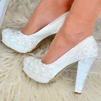 Ladies Bridal Shoes Floral Satin Lace&Pearls Wedding High Heel Pumps Court Shoes