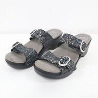 Dansko Slides Sandals Womens Sophie Black Metallic Polka Dot 7.5 / 38