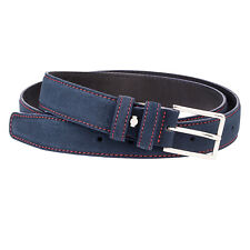 Blue Suede Leather Belt Red Mens belts 100% Italian leather Nubuck Dress W38""