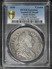 1696 Great Britain Silver Crown S-3470 1st Bust PCGS VF Details Tooled