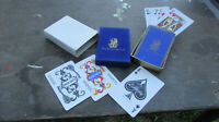 Vintage 1970s The Ritz-Carlton Deck of Playing Cards Box Blue Velvet Poker Hotel