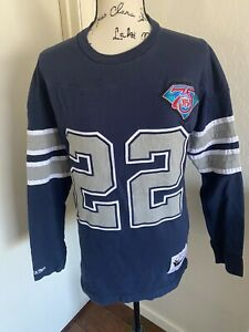 Emmitt Smith Mitchell and Ness Throwbacks #22 Long Sleeve Stitched Shirt Size M
