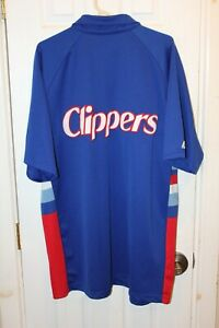 blue San Diego Clippers stitched short-sleeve snap-down warm-up jacket - XXL