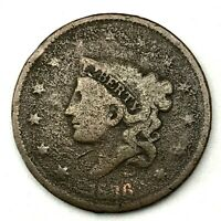 1836 Matron or Coronet Head Large Cent Coin 1c