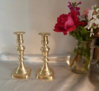 EARLY VICTORIAN ANTIQUE CANDLESTICKS-DECORATIVE AND MATCHING PAIR-CIRCA 1850