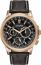 Citizen Eco-Drive Shadowhawk Rose Gold Tone Men's Watch BU2023-04E Brown leather
