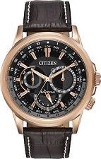 Citizen Eco-Drive Shadowhawk Rose Gold Tone Men's Watch BU2023-04E Brown leather