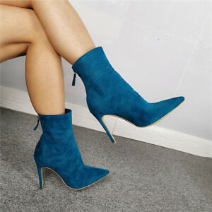 Occident Womens Sexy Pointed Toes Stilettos High Heels Ankle Boots Shoes NEW