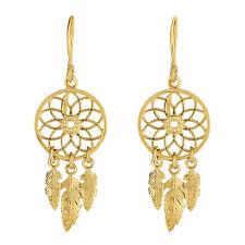 14K Yellow Gold Dream Catcher Chandelier Earrings