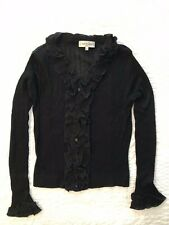 ANNE FONTAINE Black Ruffle Long Sleeve Ribbed Knit Cardigan Sweater Top Size 2