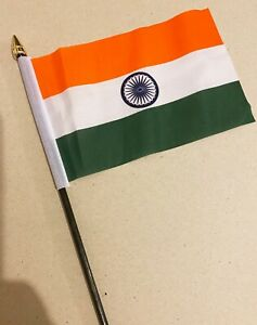 """INDIA SMALL HAND WAVING FLAG 6""""X4"""" flags Indian Asian"""
