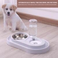 Pet Dog Automatic Water Food Feeder Dish Dual Port Drinking Feeding Basin Bowl
