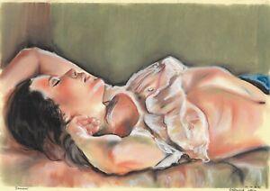 original drawing A3 112HO art samovar Pastel female half naked Signed 2021