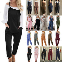 Women's Overalls Dungarees Summer Casual Jumpsuit Romper Playsuit Baggy Trousers