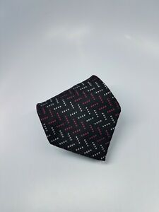 Jos A Bank Silk Tie Black Pink Geometric Dots Made in Italy