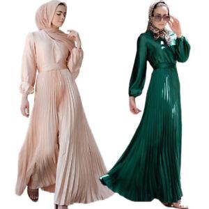 Fashion Islamic Abaya Pleated Long Sleeve Maxi Dress Robe Jilbab Kaftan Dubai