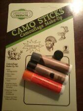 Camo-Stick Camouflage Makeup, Flat Black & Bark Grey / Camo Clean Set, Camp-Cap