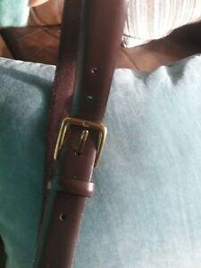 Mens Dark Brown Flat Leather M&S Belt 34-36 Inch Waist Nwot Medium gold buckle