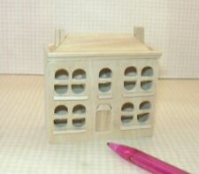 Miniature 1:144 Scale Natural Wood Dollhouse for the DOLLHOUSE, Rounded Windows