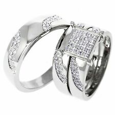 1/4 Ct Genuine Diamond 14k White Gold Over Engagement Wedding Ring Trio Set