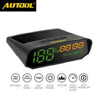 Autool GPS HUD Speedometer Overspeed Alarm Solar Charge Digital Meter MPH&KMH