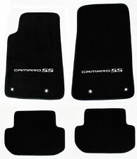 NEW BLACK Floor Mats 2010-2015 Camaro Embroidered Logo and SS in Silver 4 pc SET