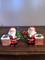 Vintage Santa Claus Christmas Candle Holders Figurines Napcoware Japan Napco
