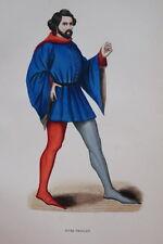 GRAVURE-JEUNE FRANCAIS ROMAN DE LA ROSE-COSTUMES MOYEN AGE 1847-ANTIQUE  PRINT