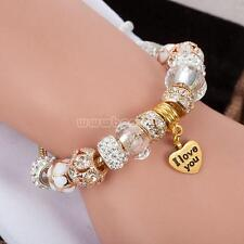 European Charm Beads Bracelet 925 Silver Plated Rhinestone Crystal Cuff Bangle
