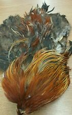 Red Chicken Cock Rooster Hackle Saddle Feather Skin Pelt K4