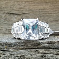 .925 Sterling Silver Ring size 9 CZ ENGAGEMENT Wedding Bridal Ladies New v68