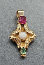 Vintage Opal, Ruby & Emerald Womens Pendant 14ct Yellow Gold Fine Jewellery