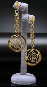 New Fashion Wedding Nigerian Party Dubai Gold Long Drop Dangle Earrings Gift Set