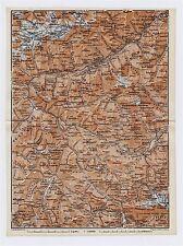 1911 ORIGINAL ANTIQUE MAP OF VICINITY OF SCUOL SILVRETTA ALPS SWITZERLAND ITALY