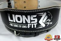 """LIONS FIT 4""""WIDE BLACK COLOR REAL LEATHER WEIGHT LIFTING, BODYBUILDING GYM BELT"""