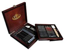 Premier Artist Drawing Sketch Set Pencil Charcoal Art Kit Wooden Box 51 Piece