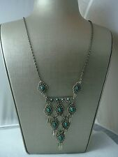 """VINTAGE 1980'S 28"""" FAUX TURQUOISE TIERED DANGLE ANTIQUED SILVER TONE NECKLACE"""