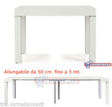 Tavolo Consolle Allungabile Picasso Legno Frassinato Bianco cm.90x50/300 Piccola